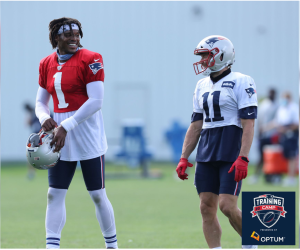 Cam Newton and Julian Edelman -- 2020 Patriots Training Camp